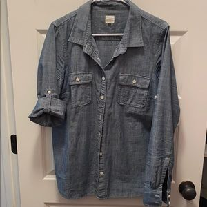 J Crew denim button down women's shirt large